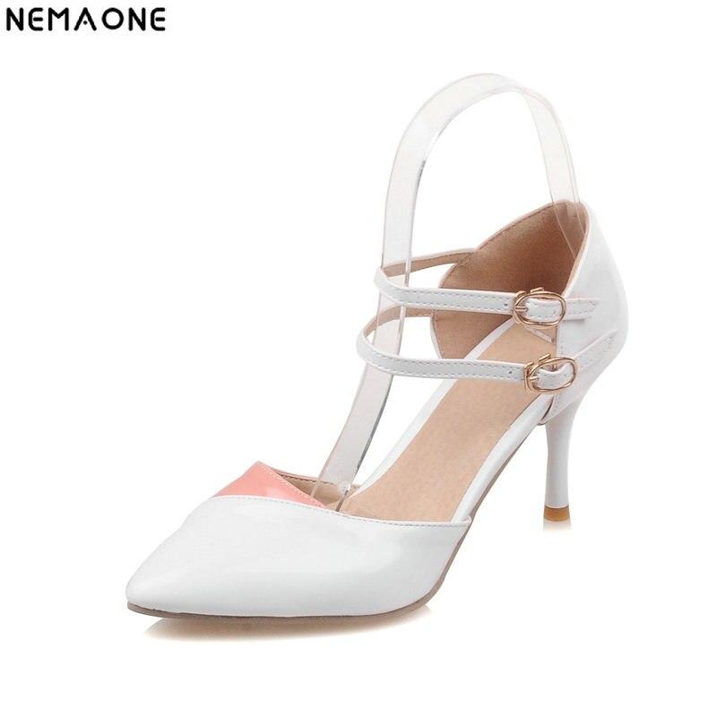 a2b3ba569b Novo 2018 das Mulheres da Moda Sapatos toe poined Bombas Sexy verão sapatos  de Salto Alto Vogue duplo fivela com Tira No Tornozelo Sapatos mulher