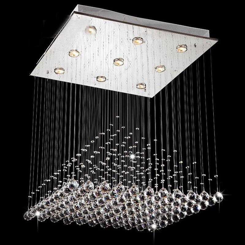 2018 Moderne Vague K9 Cristal Pendaison Boule de Fil Carré Pendentif Lampe Luminaire Rain Drop Rideau En Verre Lustre LED Lumière