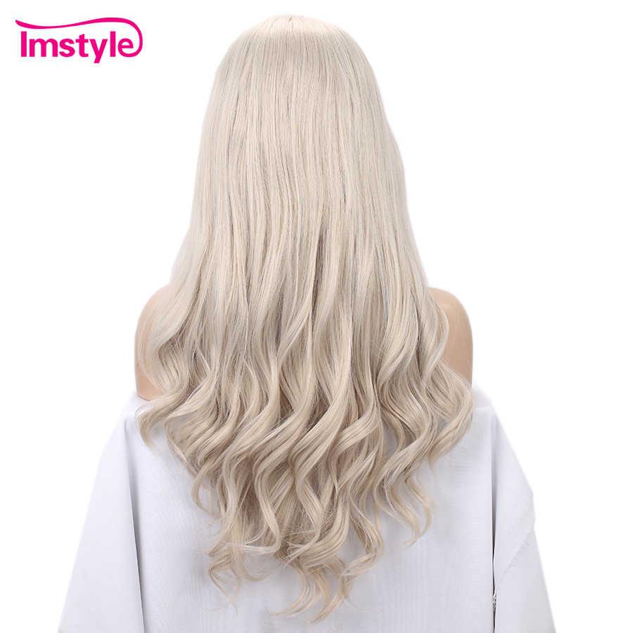 Imstyle Dantel ön peruk Kül Sarışın Peruk Uzun Dalgalı 13x6 Sentetik Saç Peruk Kadınlar Için ısıya dayanıklı iplik Doğal Saç Çizgisi Peruk