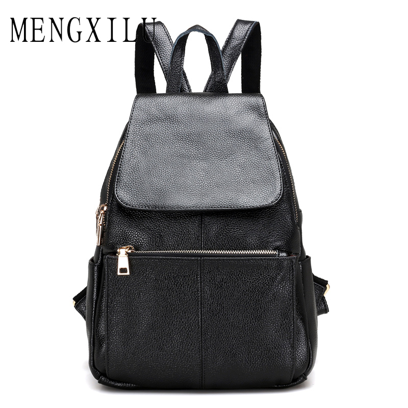 MENGXILU Preppy Style School Backpack Artificial Leather Fashion Women Shoulder Bag With Two Solid Pocket For Teens Girls Sac lowepro protactic 450 aw backpack rain professional slr for two cameras bag shoulder camera bag dslr 15 inch laptop