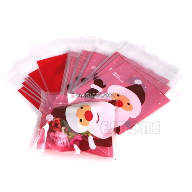 Christmas Cellophane Bags.Us 1 64 21 Off 50pcs Christmas Cellophane Pink Bags Gift Packaging Packing Cookies Candy Cake In Stockings Gift Holders From Home Garden On