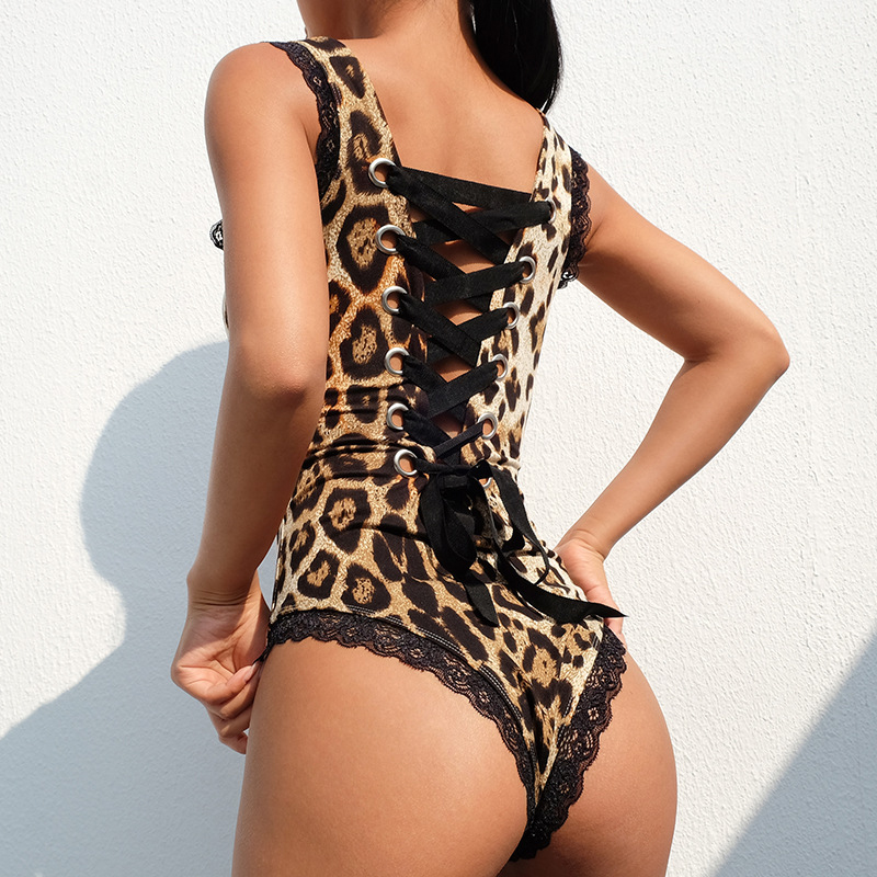 Sexy Women Jumpsuits Backless Cross Strap Design Hollow Out Romper Black Leopard Strap Catsuit Body Sleeveless Slim Playsuit
