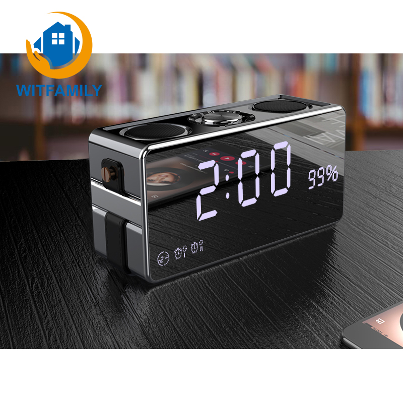 Smart Wireless Bluetooth Digital Alarm clock LED HD Phone Sound Desktop Clock Stereo Subwoofer Music Player