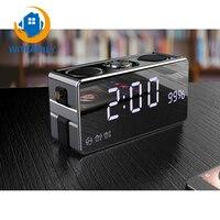 Bluetooth Wireless FM Radio Alarm Clock Phone Sound LED HD Digital Display Desktop Clock 2 1