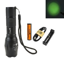 CREE Green/Red/Blue/ White Light Flashlight 600-2000 lumens 5-mode Zoomable LED Hunting Torch 200M Long Range Distance +Battery