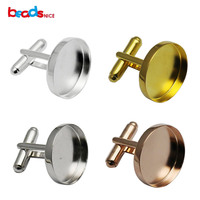 Beadsnice Solid Silver 925 Cufflink Findings Mens Jewelry Cufflink Parts With 20mm Round Bezel Setting Wedding