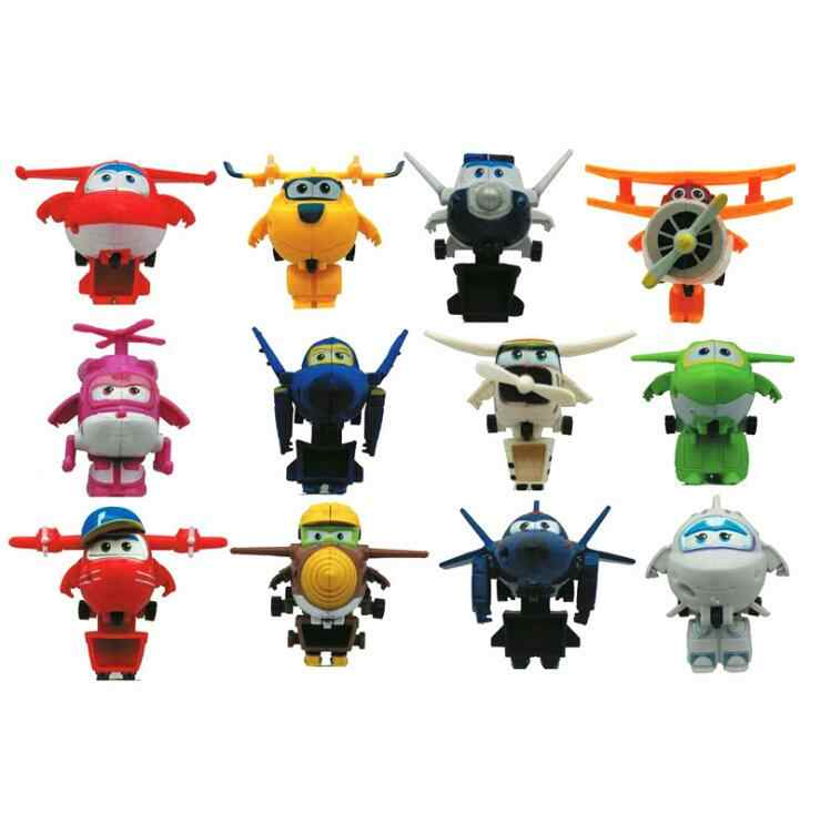12pcs/set Super Wings Mini Planes Toys Deformation Airplane Robots Donnie Dizzy Mira Jett Paul Grand Albert Action Figures Toy