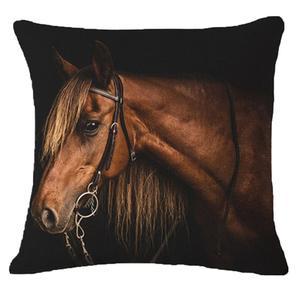 Image 3 - Creative Pillow Fashion Cartoon Animal Horse Home Decor Cotton Linen Cushion Cover 45cm*45cm #35