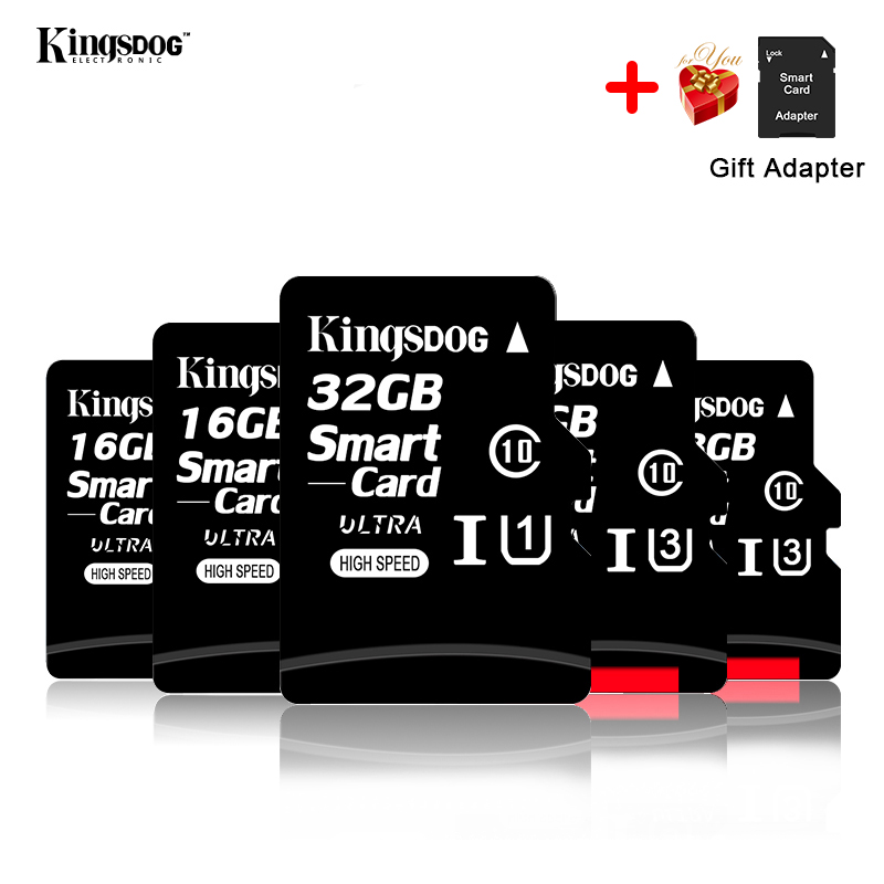 מחשבי וברזי השקיה kingsdog כרטיס זיכרון 32GB 16GB 8GB 128GB 64GB USB כרטיס Class10 TF כרטיס SD 8 16 32 64 128 GB Cartao דה Memoria Carte מתאם בחינם (3)