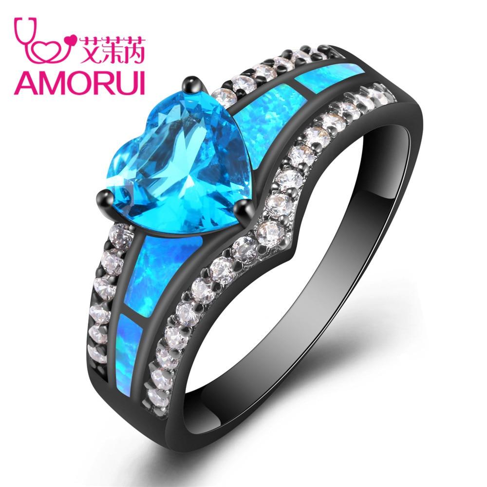 Amorui vendimia negro oro color Arco Iris púrpura verde azul CZ corazón de piedra anillos de bodas para las mujeres moda anillo de ópalo regalo