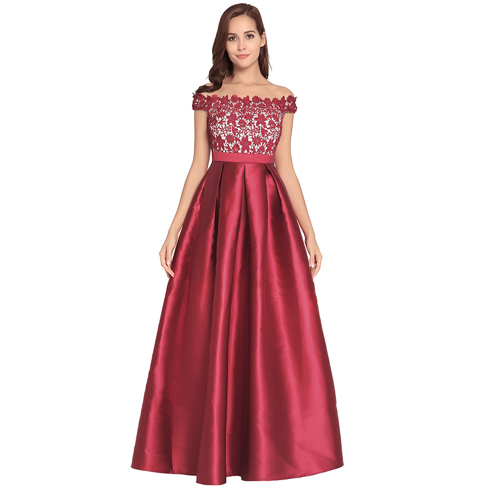 2018 Noble Party Dress For Women A-Line Solid Short Sleeve Lace Empire Round Neck Dress For Women