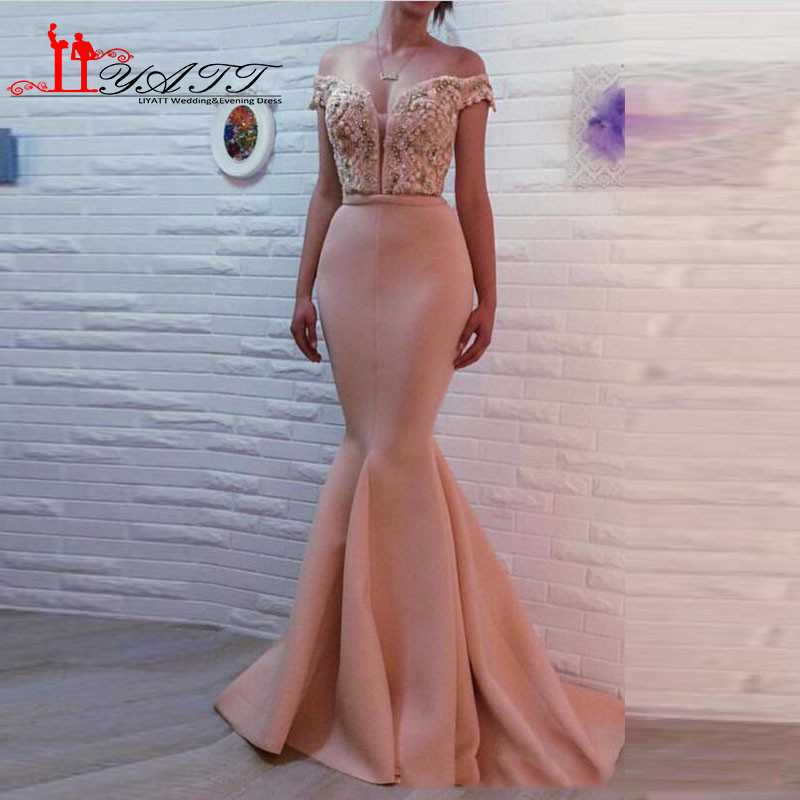 2017 Laiputer Sexy Mermaid Peach Pink Pearls Elegant Backless Amazing Vestido De Festa Longo Evening Prom Dresses Evening Dresses