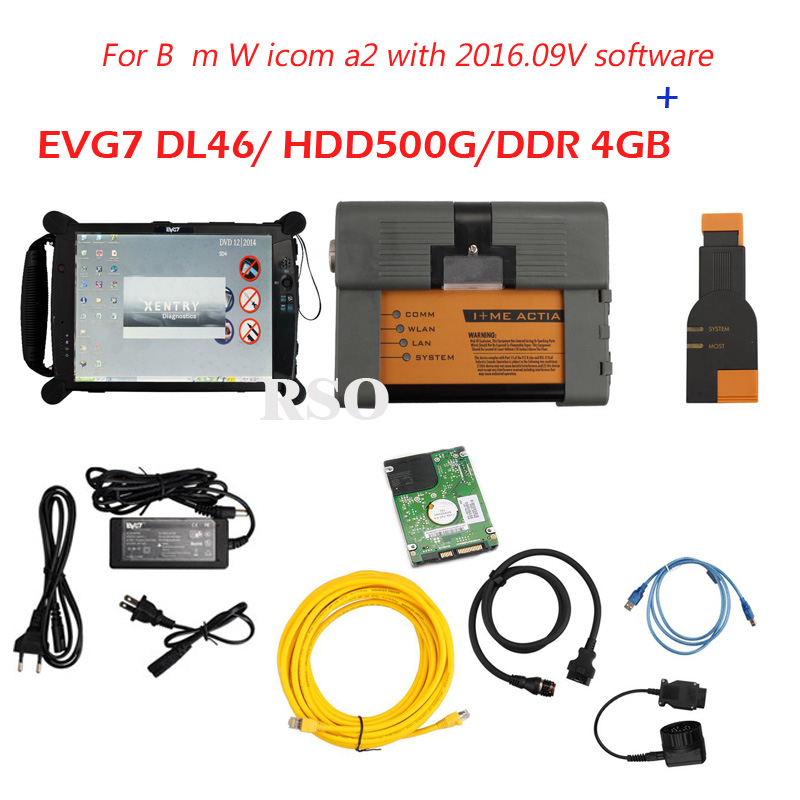 High quality ICOM A2 With 2016.09V ICOM Software and EVG7 DL46/HDD500GB/DDR 4GB Diagnostic Controller Tablet PC Ready To Use  newest version icom a2 hdd for bmw a2 super hdd 320g for bmw icom a2 hdd v2016 9 support multi languages free shipping