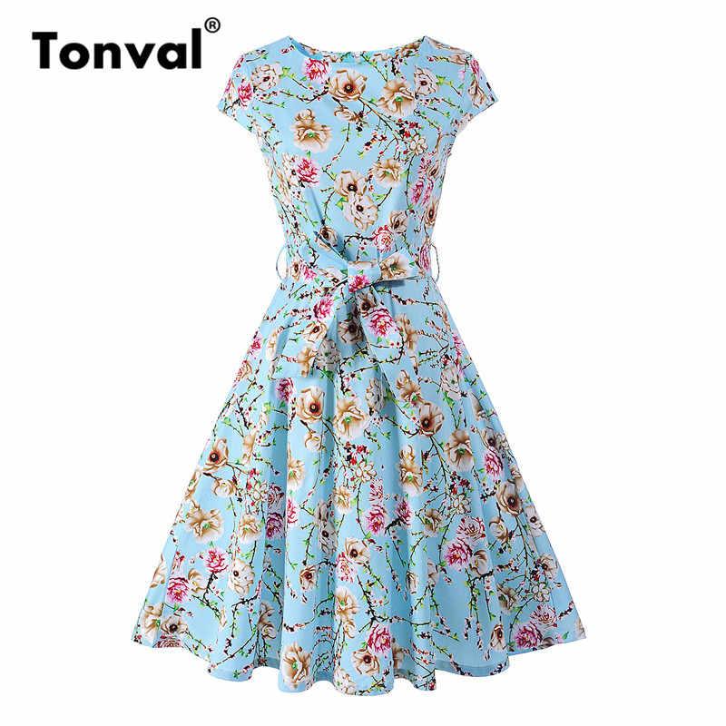 c5b353b86e0 Tonval Винтаж Кепки рукавом Цветочные голубое платье с поясом Для женщин  летние хлопковые Ретро Платья для