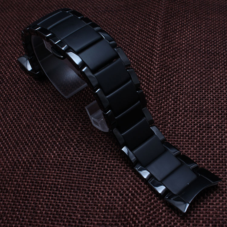 High Quality Ceramic Watchband Black 22mm for special watches 1452 diamond watch men bracelet accessories curved end dull polish