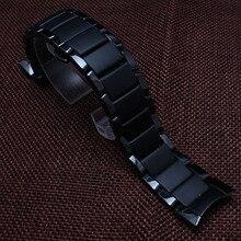 Alta calidad de cerámica correa de reloj negro 22 mm para relojes especiales 1452 del diamante del reloj hombres brazalete accesorios curved end polaco embotado