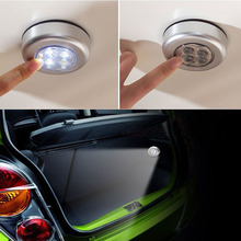Mini Round 4 LED Push Tap Stick Convenient Touch Practical Car trunk Night Light Lamp Cordless Car Bulb
