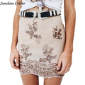 Autumn Elegant Lace Sequin Mesh Women Skirt  Black High Waist Casual Mini Sexy Party Skirt Bodycon Pencil  Short  Skirt