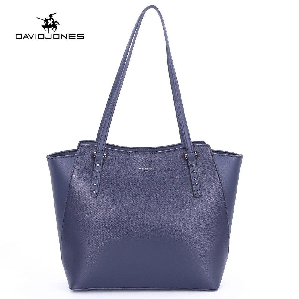 DAVIDJONES women tote bags pu leather female shoulder bags large lady solid top handle bag girl