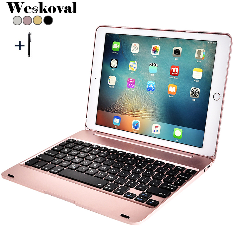 Keyboard For iPad Pro 2016 9.7 inch Wireless Bluetooth Slim Aluminum Alloy For iPad Pro 9.7(2016) Tablet Flip Stand Cover +Pen ...
