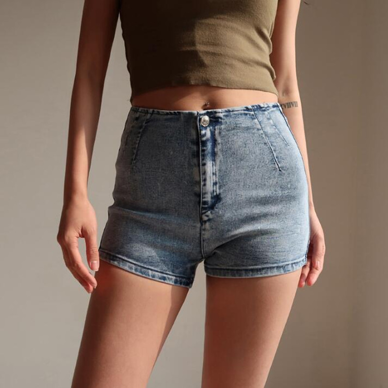Mom Jeans Shorts Vintage High Waist Summer Stretch Washed Skinny Sexy Cotton Denim Mini Short Retro Casual Black Blue Shorts