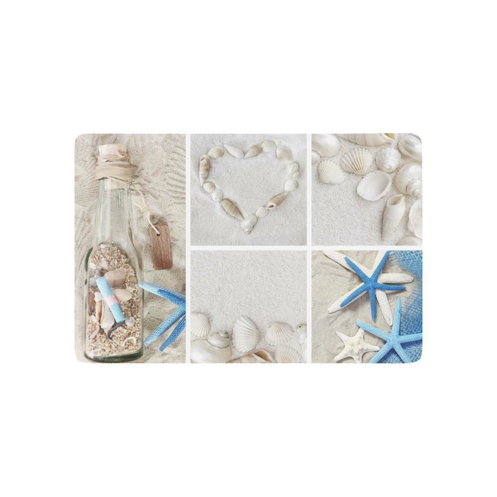 Beach Theme Anti-slip Door Mat Home Decor, Summer Starfish Drift Bottle Indoor Outdoor Entrance Doormat Rubber Backing
