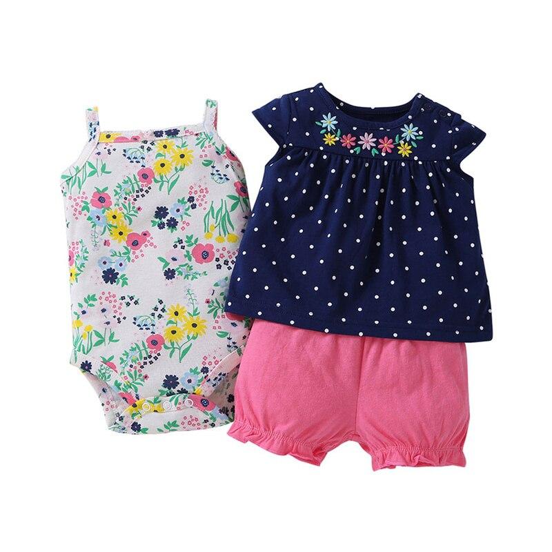 3Pieces Babys Set Cotton Girl Clothes Toddler Outfits Infant Vest+Short Sleeve+Short Pants Summer Newborn Costumes Bebes Suits