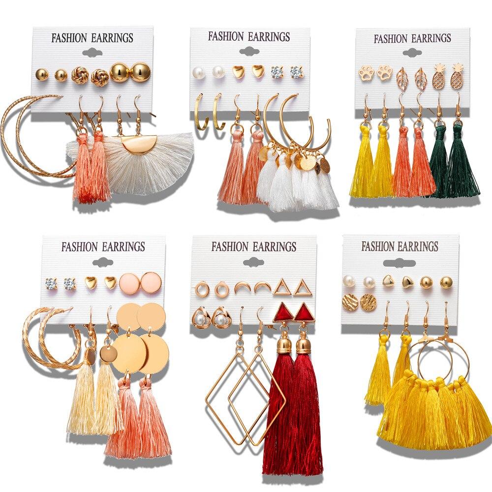 17 Km 6 Böhmischen Ohrring Lange Quaste Drop Ohrringe Set Für Frauen Mädchen 2019 Mode Geometrische Ohrring Billig Brincos Weibliche Schmuck