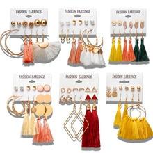 17KM 6 Bohemian Earring Long Tassel Drop Earrings Set For Wo