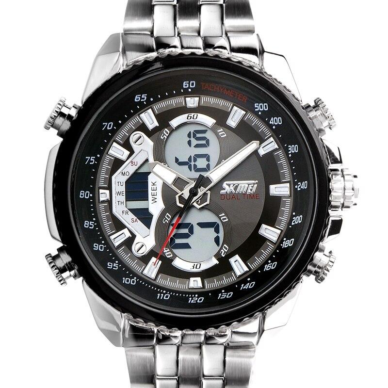 SKMEI Men Sport Digital Fashion Casual Watches Stain Steel Silver Wristwatch Led Water resistant Quartz Watch Relogio Masculino 5