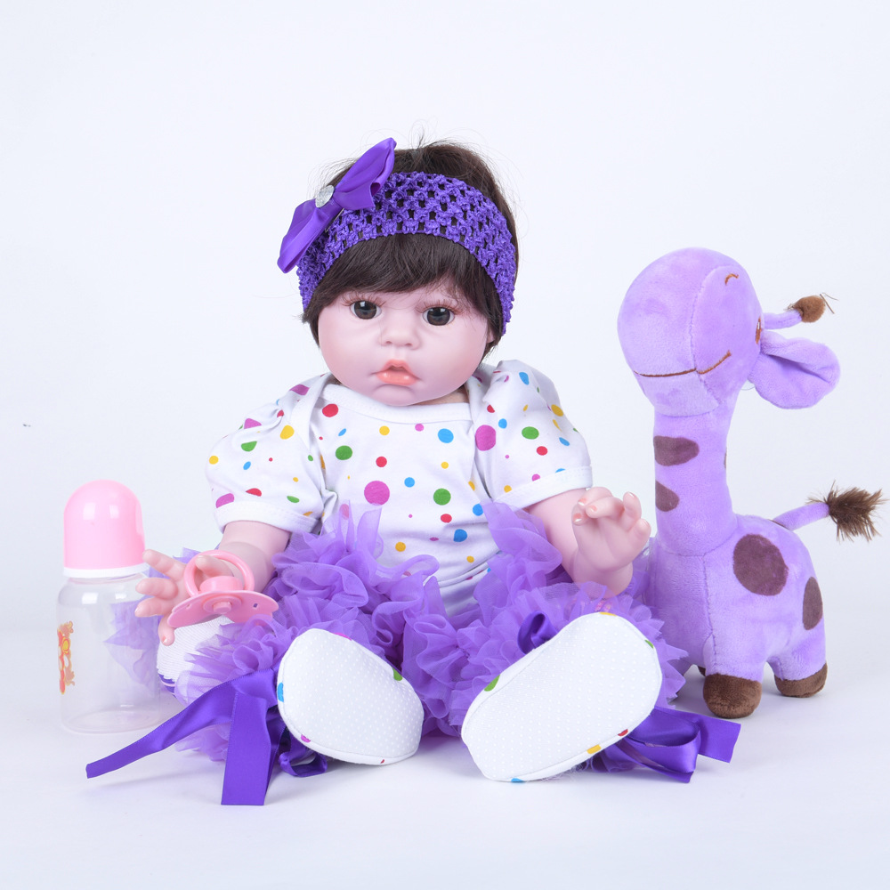 55cm Cute Reborn Girl Doll Soft Silicone Lifelike Newborn Baby with Cloth Body Toy for Children Birthday Xmas Gift Bebe цены