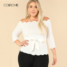 c02f6053bde COLROVIE Plus Size Beige Workwear Self Tie Scallop Off The Shoulder Blouse  Shirt 2018 Summer Stretchy Feminine Blouse Women Tops