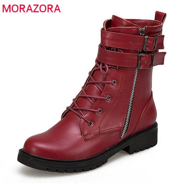 MORAZORA 2018 yeni varış Martin çizmeler yuvarlak ayak yarım çizmeler kadınlar için fermuar + lace up sonbahar kış çizmeler moda punk ayakkabı