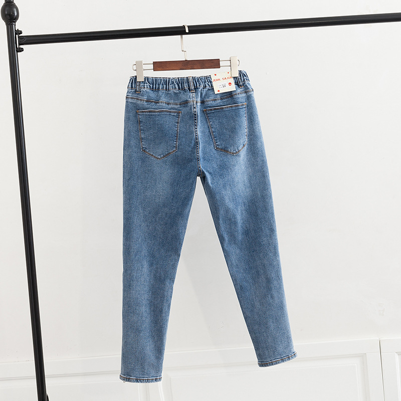 Size Zippers Women Casual Jeans Denim Trousers Blue Skinny Pencil Pants Plus Size Stretched Jeans KKFY3244