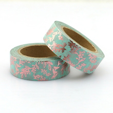1PCS Foil Floral washi tape DIY decoration scrapbooking Planner masking tape adhesive kawaii stationery