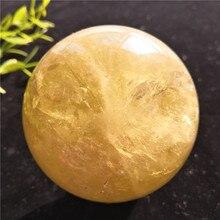 Natural  Yellow  Crystal Quartz Crystal Sphere Globe Ball Chakra Healing Reiki Stone Furnishing Articles Crafts