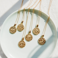Trendy long Chain Gold Color Discs Alloy Engraved Pendent Necklace For Women Personalized Round Fashion Female Jewelry