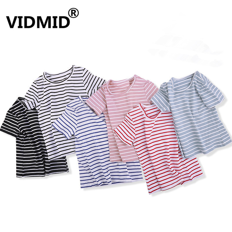 VIDMID Boy Girl Tee Solid Color t-shirts Baby Boys Girl T-shirts Summer striped Short Sleeve Kids Tees Children Clothing 7042 06 1