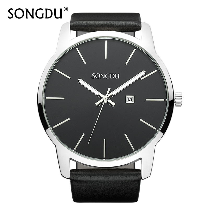 SONGDU Mens Watches Top Brand Fashion Watch Calendar Casual Clock Male Simple Large Dial Waterproof Quartz Wristwatch Hot Sale waterproof watch for women nuodun top brand hot sale ladies business watch with calendar week woman wristwatch assista mulher