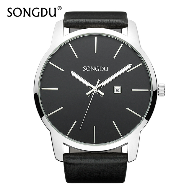 SONGDU Mens Watches Top Brand Luxury Watch Calendar Casual Clock Male Simple Large Dial Waterproof Quartz Wristwatch Hot Sale