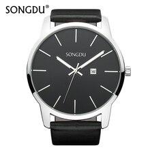 SONGDU Mens Watches Top Brand Luxury Watch Calendar Casual Clock Male Simple Large Dial Waterproof Quartz Wristwatch Hot Sale