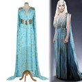 Game of Thrones Daenerys Targaryen Cosplay Costume Halloween party long Blue Dress