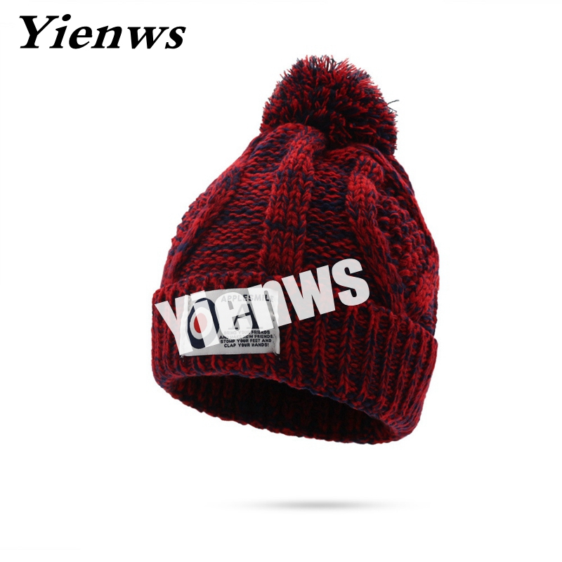 Yienws Women Pompom Cap With Top Ball Knit Winter Beanie Hats For Women Autumn Female Caps Beanies And Skullies Snow Cuff YIC560 female caps for autumn