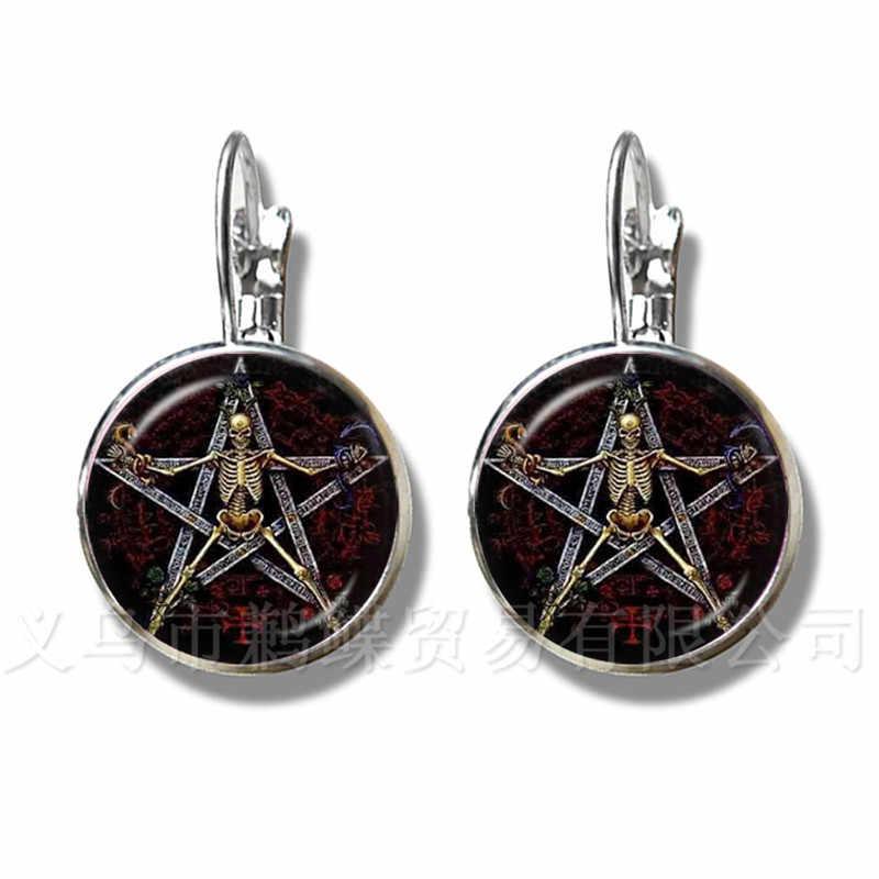 Сатаническая пентаграмма звезда символика заявление посеребренные серьги ручной работы для женщин девочек классические ювелирные изделия Паган подарок