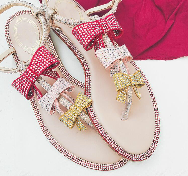 Belle Sandales 2018 Picture Bowtie Cristal Style Butterflyknot Nouvelle as Appartements As String Doux Femme Boucle Arrivée Picture Sangle Chaussures qEAp0