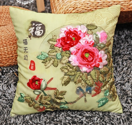 D family flowers ribbon embroidery pillow cushion cover