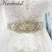 Rhinestone Beaded Bridal Belt Handmade Crystal Wedding Accessories Floral Wedding Sash Rhinestone Trim
