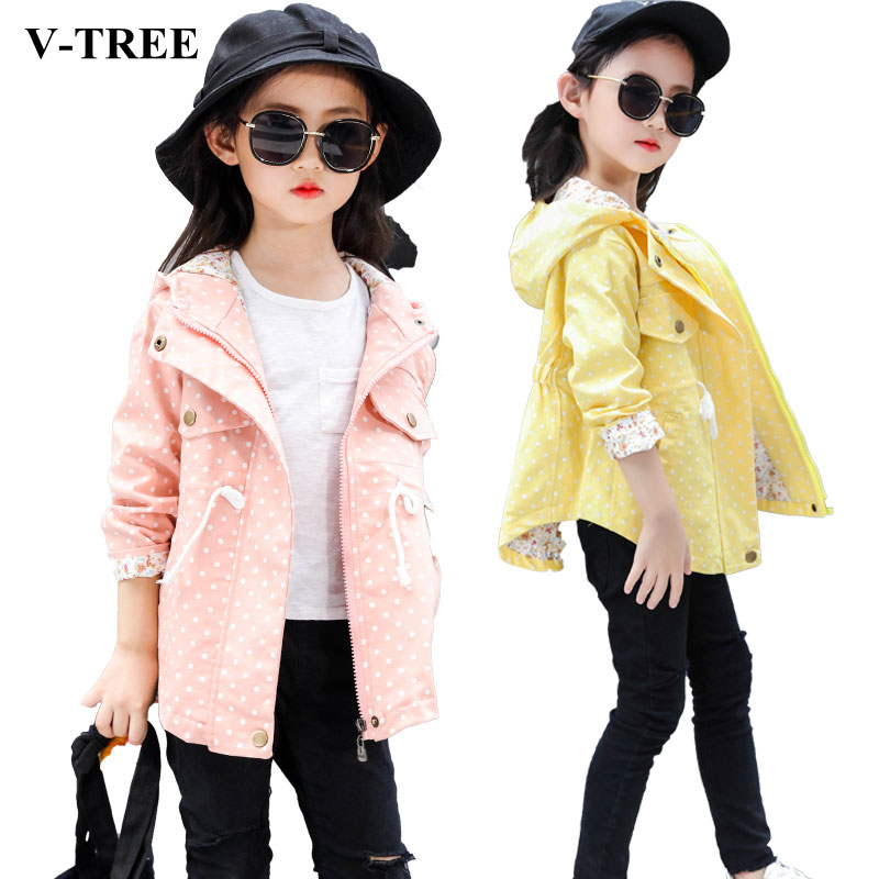 V-TREE Autumn Jacket For Girls Fashion Kids Coat Dot Hoodies For Girl Zipper Girls Windbreaker Children Parka Outerwear