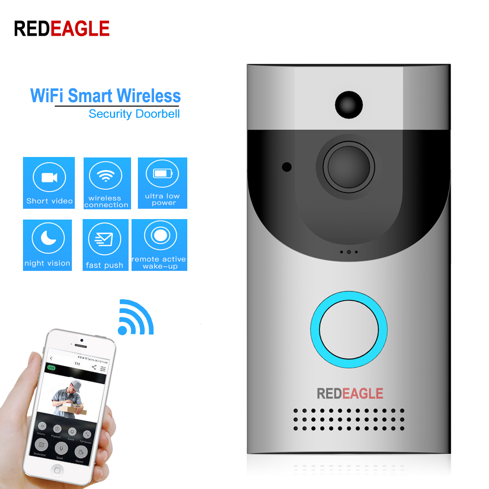 REDEAGLE WiFi Smart Wireless Security DoorBell 720P Waterproof Night Vision Camera Visual Intercom Recording Video Door Phone REDEAGLE WiFi Smart Wireless Security DoorBell 720P Waterproof Night Vision Camera Visual Intercom Recording Video Door Phone