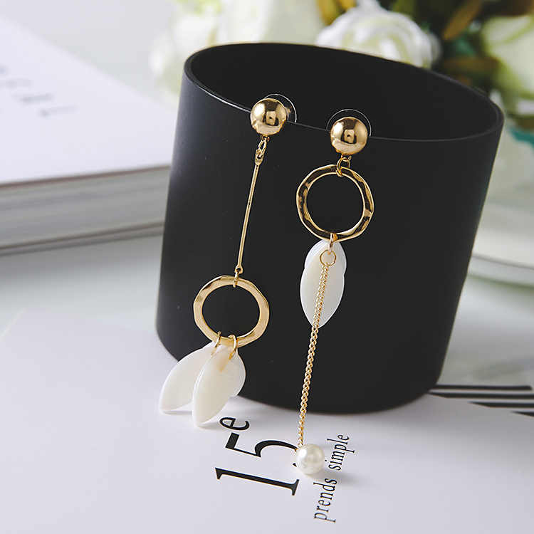 Trendy Shell Plant Women Dangle Earrings Leaf Tassel Pendant Asymmetrical Earrings For Women Drops Earrings  Bohemian Earrings